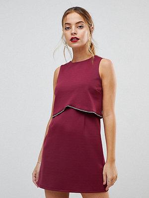 ASOS Petite Scuba Crop Top with Embellished Trim Mini Dress