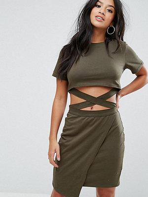 ASOS Petite T-shirt Mini Bodycon Dress with Cut About Straps