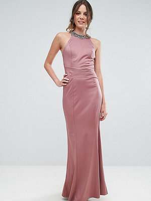 Little Mistress Tall Embellished High Neck Fishtail Maxi Dress