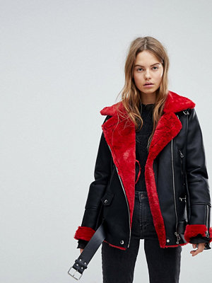 Bershka Contrast Detail Aviator Jacket - Red and black