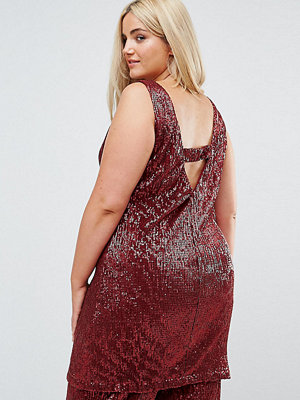 Elvi Allover Premium Sequin Shift Dress With V Back - Brick