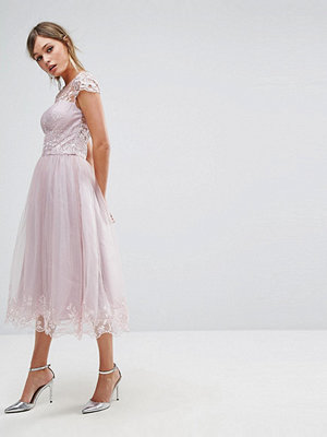 Chi Chi London Premium Lace Midi Prom Dress with Lace Neck - Mink