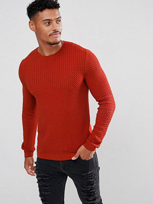 ASOS Muscle Fit Cable Knit Jumper In Rustic Copper