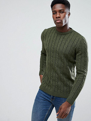 ASOS Cable Knit Jumper In Khaki