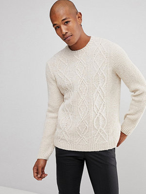 ASOS Cable Knit Jumper In Oatmeal