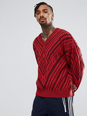 ASOS Jacquard Knit Jumper In Berry
