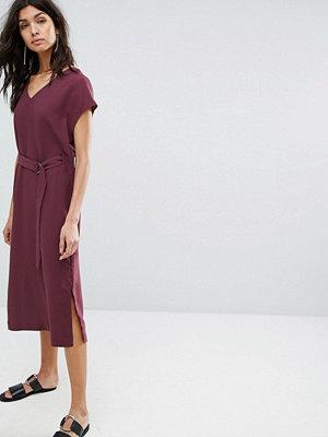 Selected Tie Front Dress - Mauve wine
