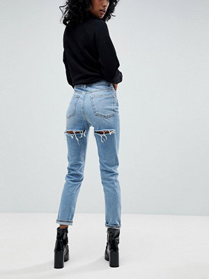 ASOS FARLEIGH High Waist Slim Mom Jeans In Ariel Light Stone Wash With bum Rips