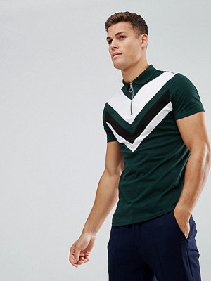 ASOS Zip-Neck Polo Shirt With Chevron Cut And Sew