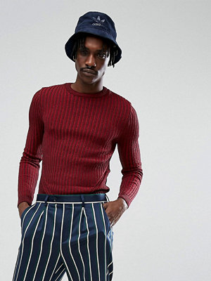 ASOS Muscle Fit Ribbed Jumper In Burgundy - Burgundy
