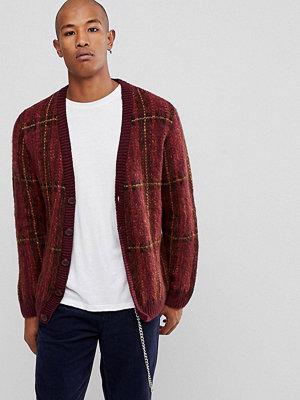 ASOS Fluffy Oversized Cardigan In Burgundy Check