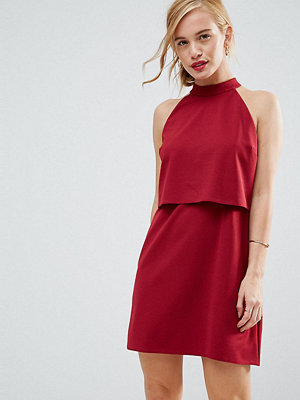 ASOS Petite Double Layer Dress with High Neck - Oxblood