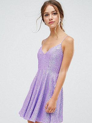 ASOS Petite Deep Plunge Embellished Skater Mini Dress