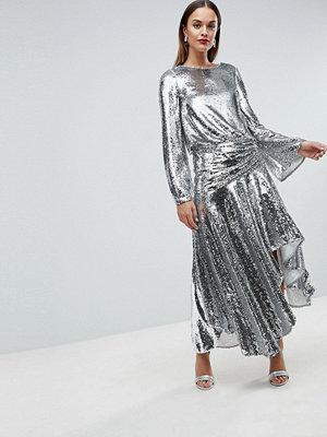 ASOS Edition Drop Waist All Over Sequin Midi Dress - Silver