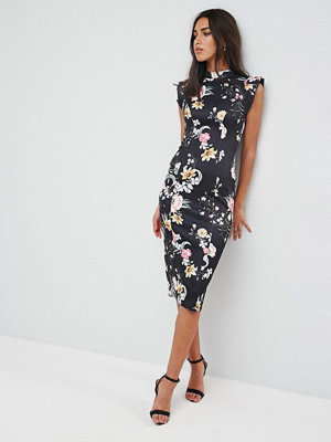 ASOS High Neck Pencil Dress With Cut Out Back And Shoulder Detail in Dark Based Floral Print