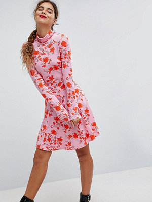 ASOS Polo Neck Mini Dress With Godets In Floral Print - Floral print