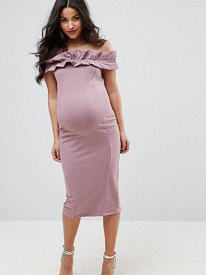 ASOS Maternity Ruched Ruffle Bardot with Seams Dress - Mink