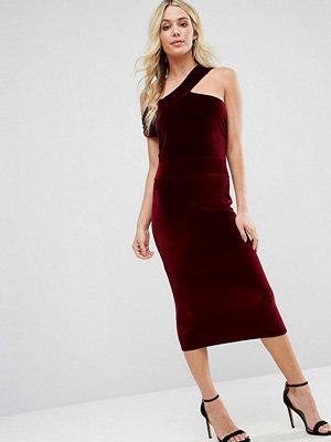 Boohoo Velvet Cut Out Detail Pencil Dress - Burgundy