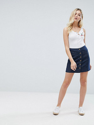 Brave Soul Petra Button Through Denim Skirt in Pinstripe