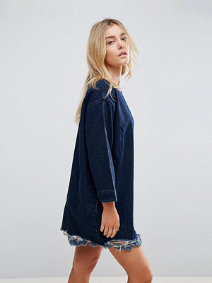Wåven Eira Destroyed Hem Denim Dress - Hel blue