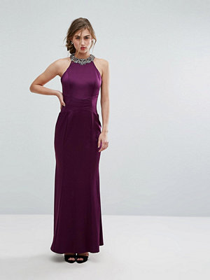 Little Mistress Embellished High Neck Fishtail Maxi Dress