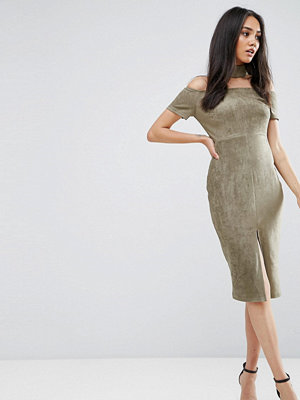 Ax Paris Khaki Off The Shoulder Choker Dress With Capped Sleeves