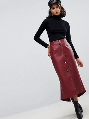 ASOS Leather Look Midaxi Skirt with Button Detail