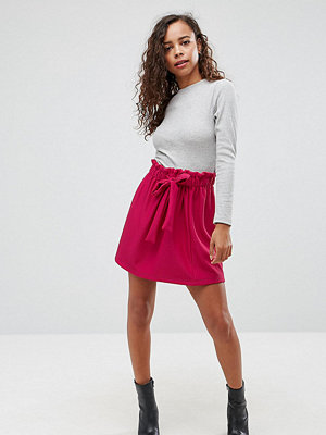 ASOS Petite Textured Mini Skater Skirt with Paperbag Waist and Belt