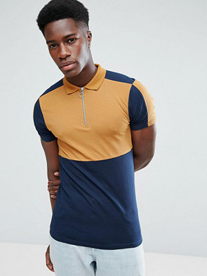 ASOS Muscle Polo Shirt With Colour Block And Zip Neck