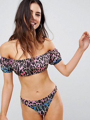 ASOS Rainbow Leopard Print Puff Sleeve Bardot Bikini Top