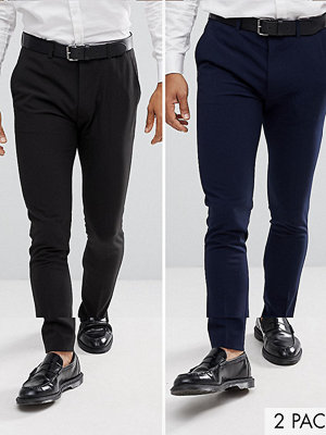 ASOS 2 Pack Super Skinny Trousers In Black And Navy SAVE