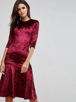 Club L Crushed Velvet Peplum Hem Midi Dress - Berry crushed