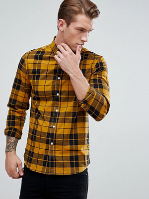 ASOS Stretch Slim Poplin Check Shirt In Mustard