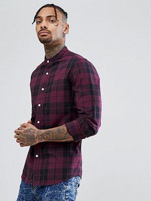 ASOS Stretch Slim Poplin Check Shirt With Grandad Collar