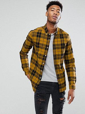 ASOS TALL Stretch Slim Poplin Check Shirt In Mustard