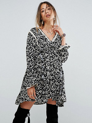 Free People Disty Print Frill Mini Dress