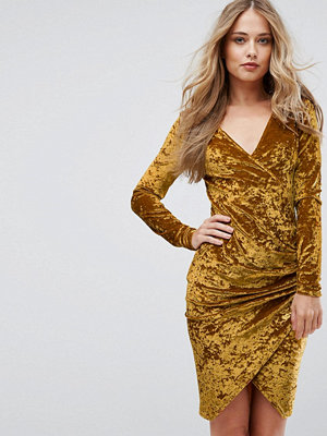 Club L Plunge Wrap Front Ruched Side Dress In Velvet - Ochre