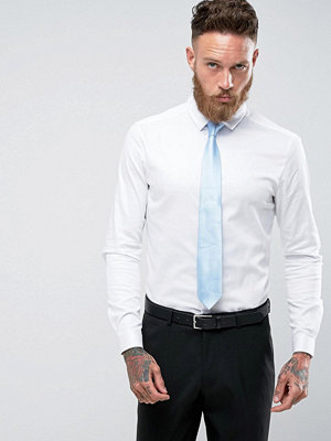 ASOS Wedding Skinny Sateen Shirt in White