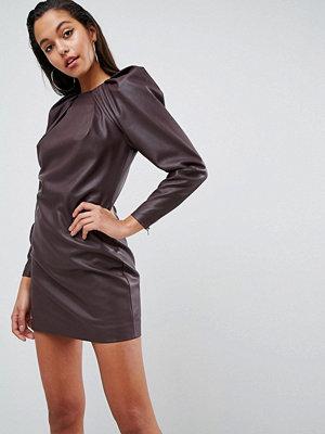 ASOS Edition Faux Leather Shoulder Pad Long Sleeve Shift Mini Dress - Oxblood