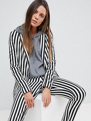 Asos Tall Longline Blazer in Mono Stripe