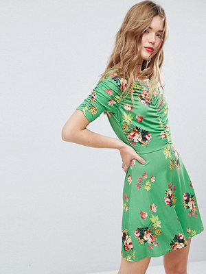 ASOS Mini Tea Dress with Rouching Detail in Green Floral Print