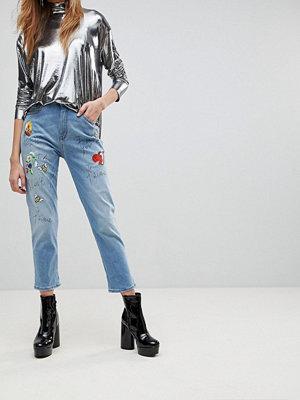 Love Moschino Jeans i boyfriend-modell med tryck fåglar och bin 013 w