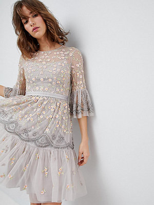 Needle & Thread Allover Embroidered and Embellished Midi Dress with Fluted Sleeves - Dove