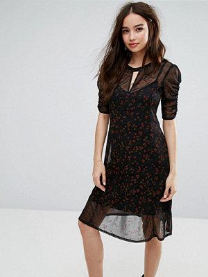 Miss Selfridge Overlay Printed Ruched Dress