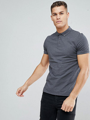 ASOS DESIGN pique polo with button down collar