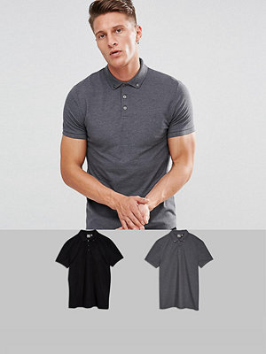 ASOS DESIGN pique polo with button down collar 2 pack save