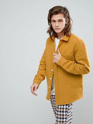ASOS Overshirt In Brushed Cotton In Mustard
