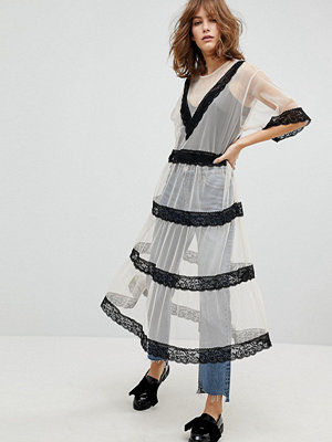Monki Lace Insert Smock Midi Dress