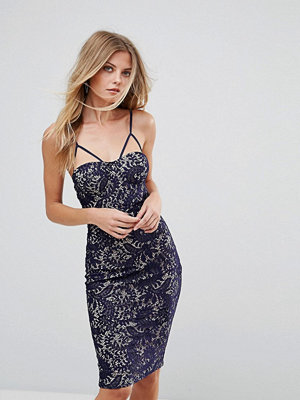 Ax Paris Lace Bodycon Dress With Contrast Lining - Navy/cream