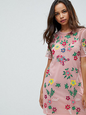 ASOS Petite PREMIUM Mesh T-Shirt Dress with Floral Embroidery - Blush